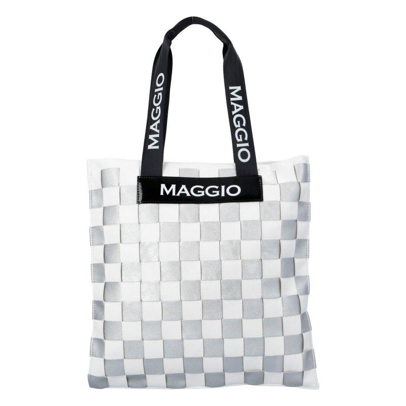 Extravagantní dámská koženková kabelka Maggio square, stříbrná