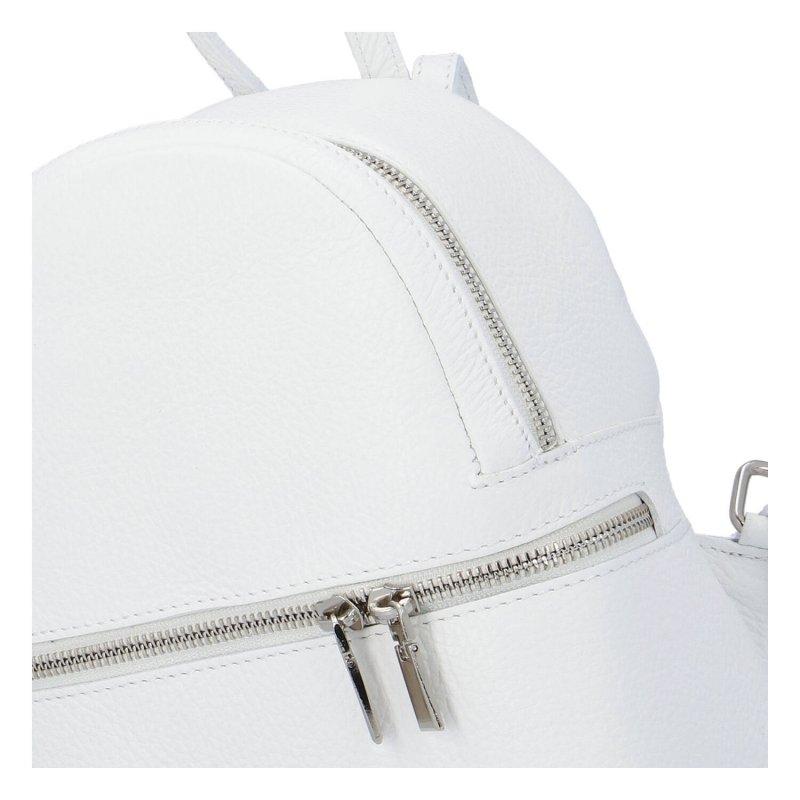 Moderní dámský kožený batoh Dreams, bílý