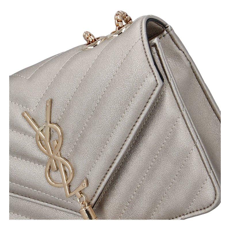 Trendová menší koženková kabelka Y&L Silva, stříbrná