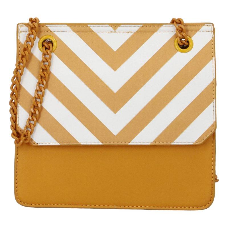 Moderní dámská koženková kabelka Happy Stripes, žlutá
