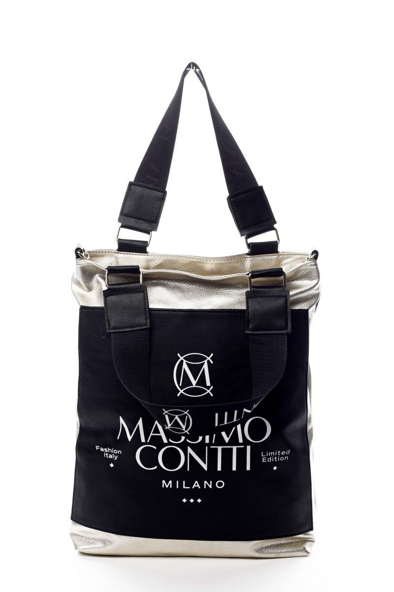 Trendová dámská koženková kabelka Valencie černozlatá