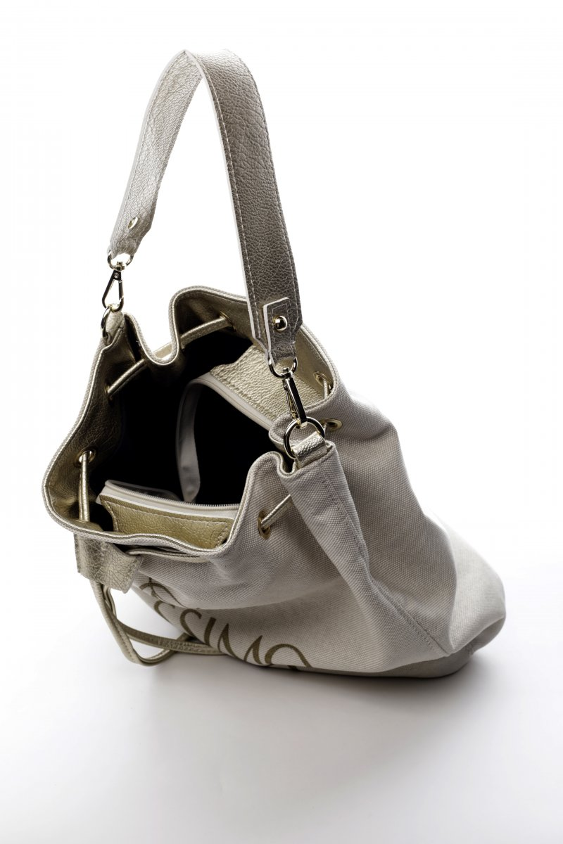 Praktická látková taška ve tvaru pytle Amore béžová