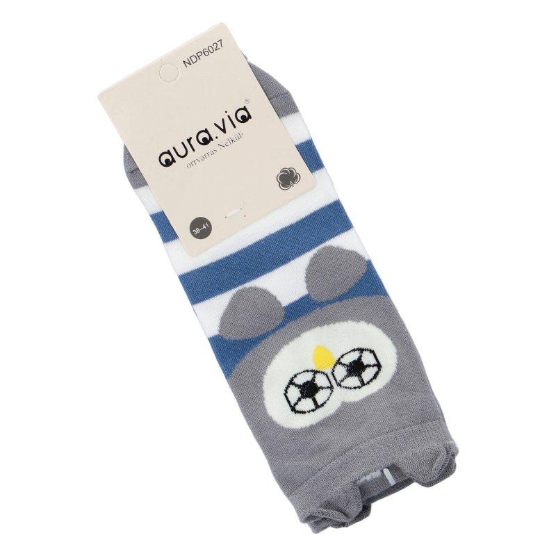 Kotníčkové ponožky Aura via Sovička s ušima 38-41, šedo-modrá
