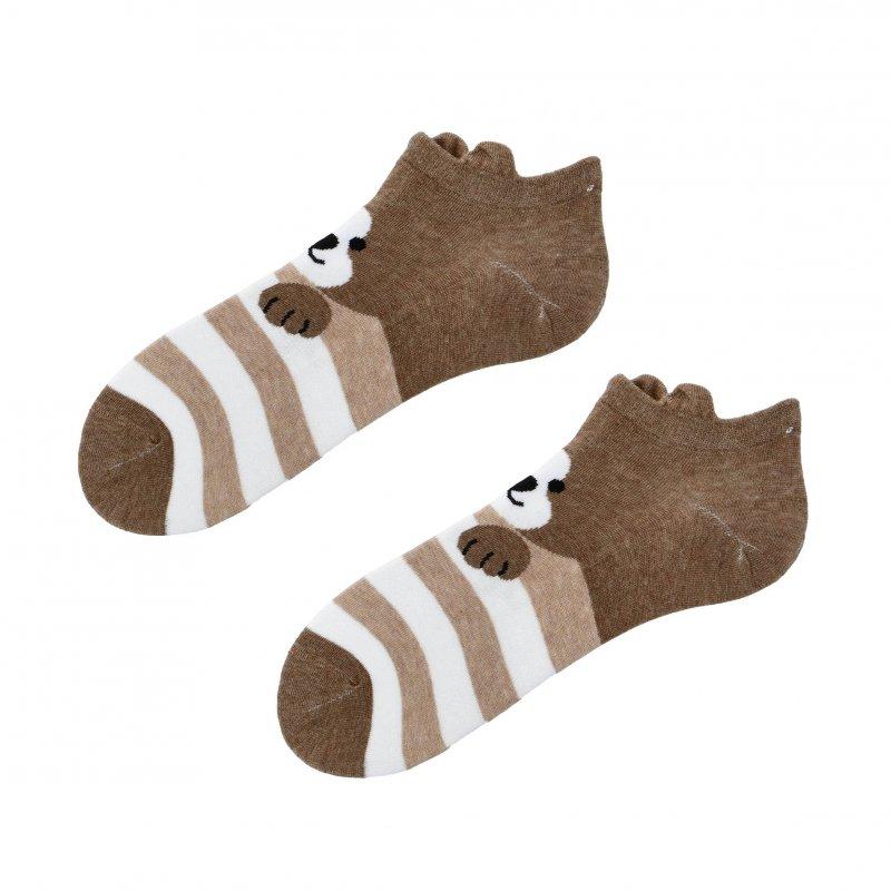 Kotníčkové ponožky Aura via Pejsek s ušima 38-41, hnědá