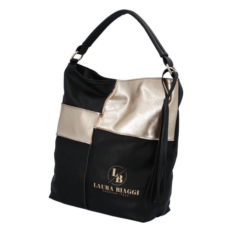 Moderní dámská koženková kabelka Laura Gold, černo zlatá