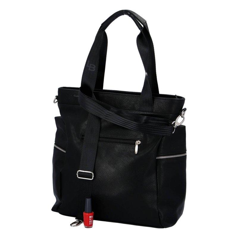 Sportovně elegantní dámská koženková kabelka Laura Sport, černá