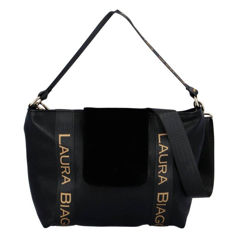 Trendová dámská koženková kabelka Laura black night, černá