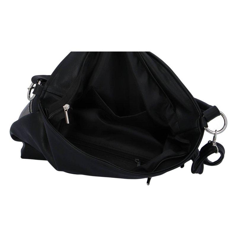 Praktická dámská koženková kabelka LB, stříbrná