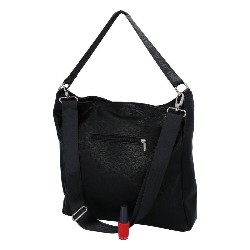 Praktická dámská koženková kabelka L.B., černá