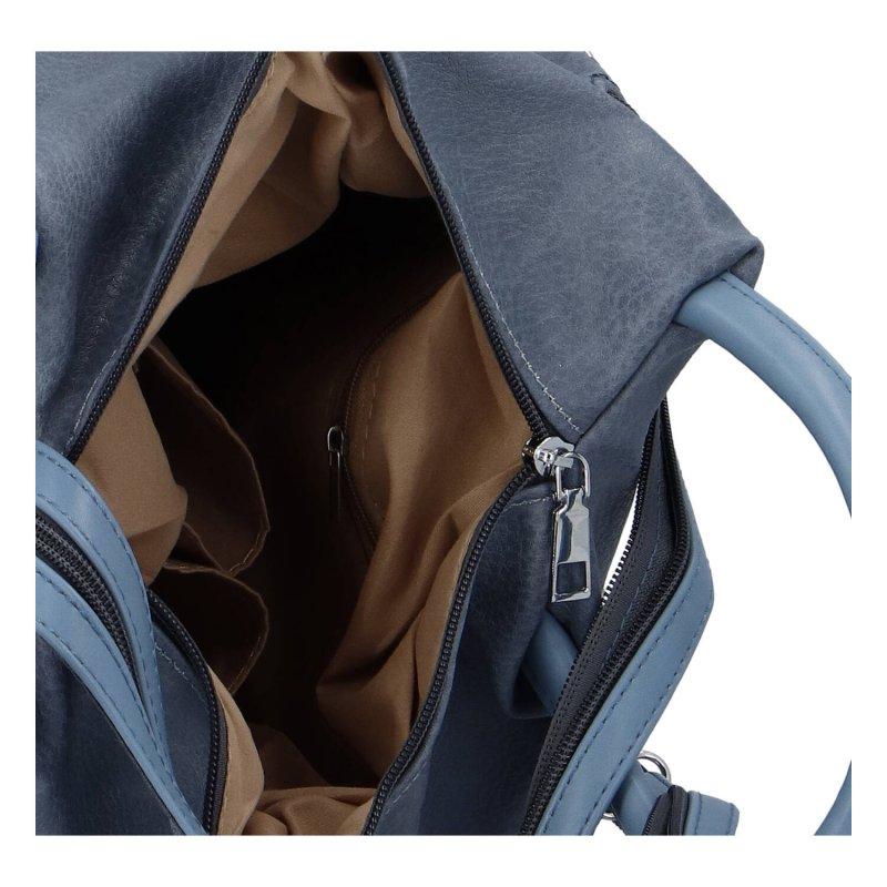 Moderní dámský koženkový batoh Indira, modrý