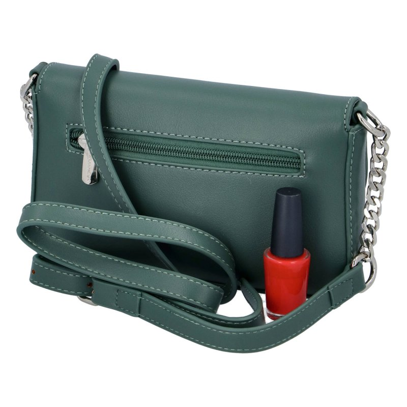 Trendová dámská menší koženková kabelka , zelená