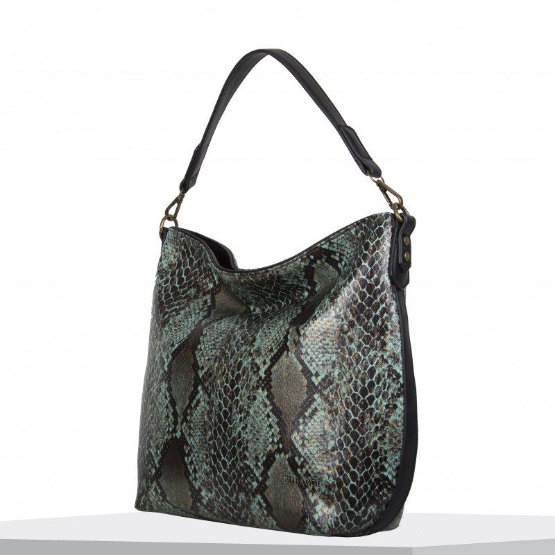 Moderní dámská koženková kabelka BULAGGI Protea, smaragdově zelená vzor had