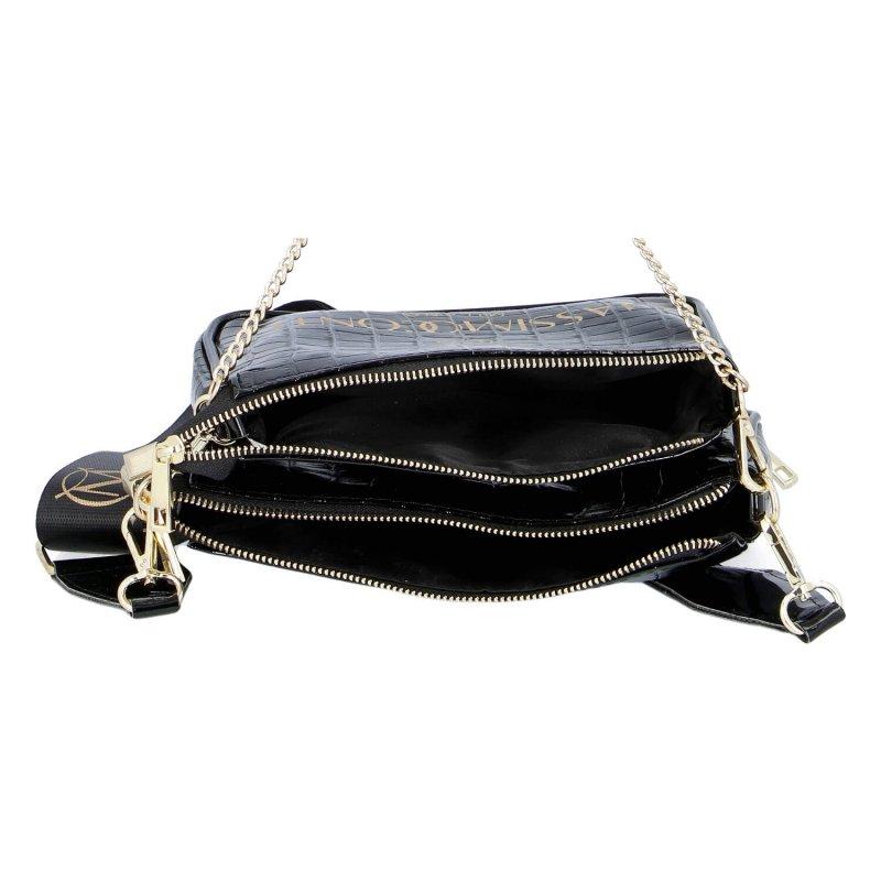 Moderní dámská koženková kabelka MASSIMO Iris,černo zlatá