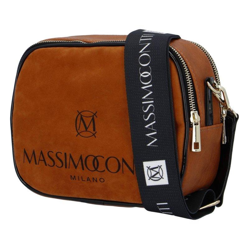 Praktická menší koženková kabelka MASSIMO small dream, hnědá