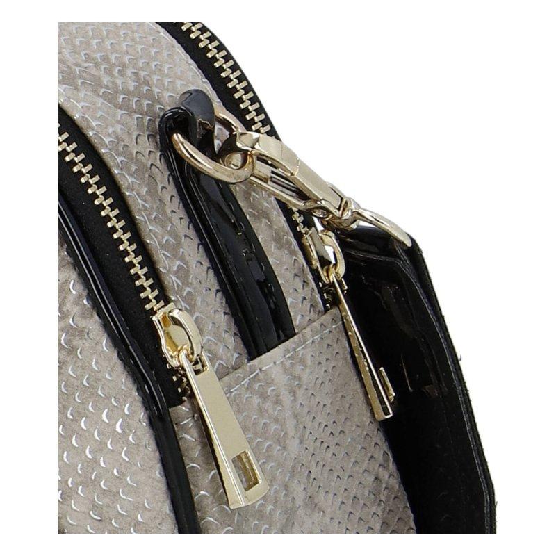 Praktická menší koženková kabelka MASSIMO small dream, stříbrná vzor had