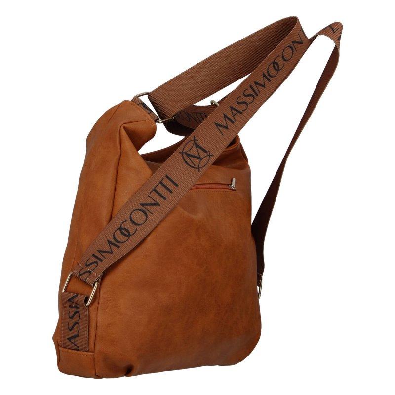 Trendový dámský koženkový kabelko-batoh M.C.Milano, hnědý