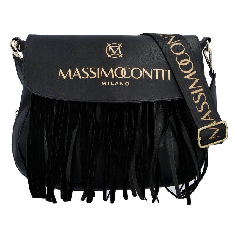 Extravagantní dámská koženková kabelka MASSIMO cowgirl, černá