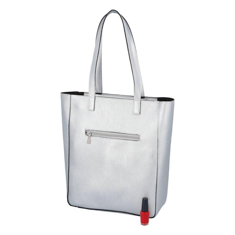 Dámská koženková kabelka Mary silver, stříbrná