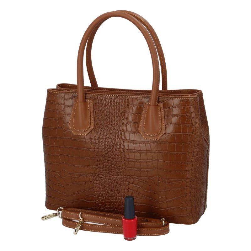 Elegantní dámská kožená kabelka Sarah Elegance, hnědá