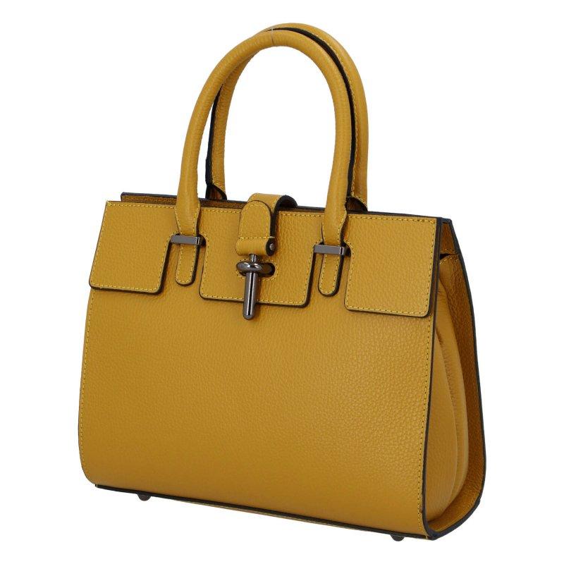 Praktická dámská kožená kabelka Happy manager, žlutá
