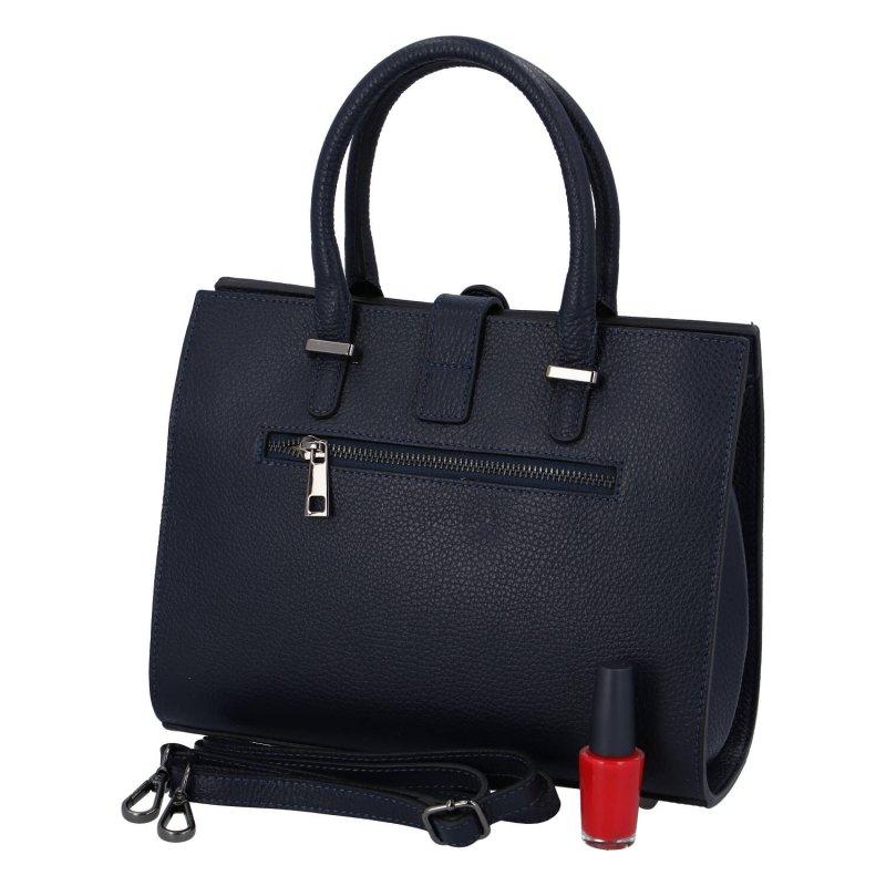 Praktická dámská kožená kabelka Happy manager, tmavě modrá