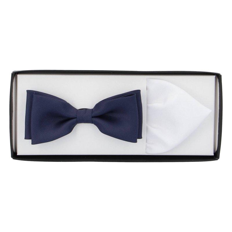 Pánská společenská sada motýlek s kapesníčkem, modrá-bílá