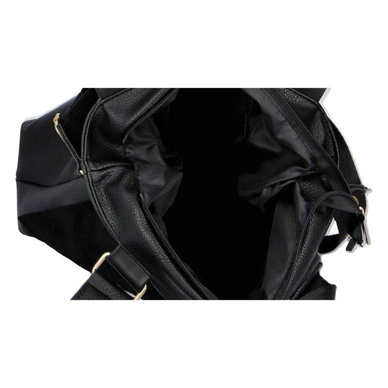 Praktická velká dámská koženková kabelka Laura Grandioso, černá