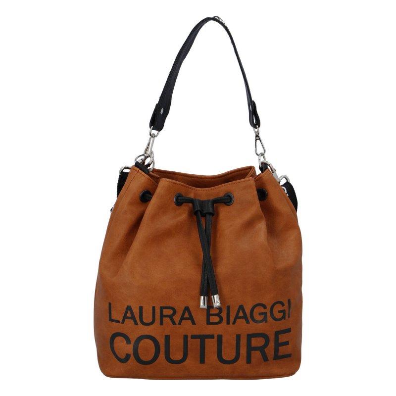 Dámská koženková kabelka pytel Laura, hnědá