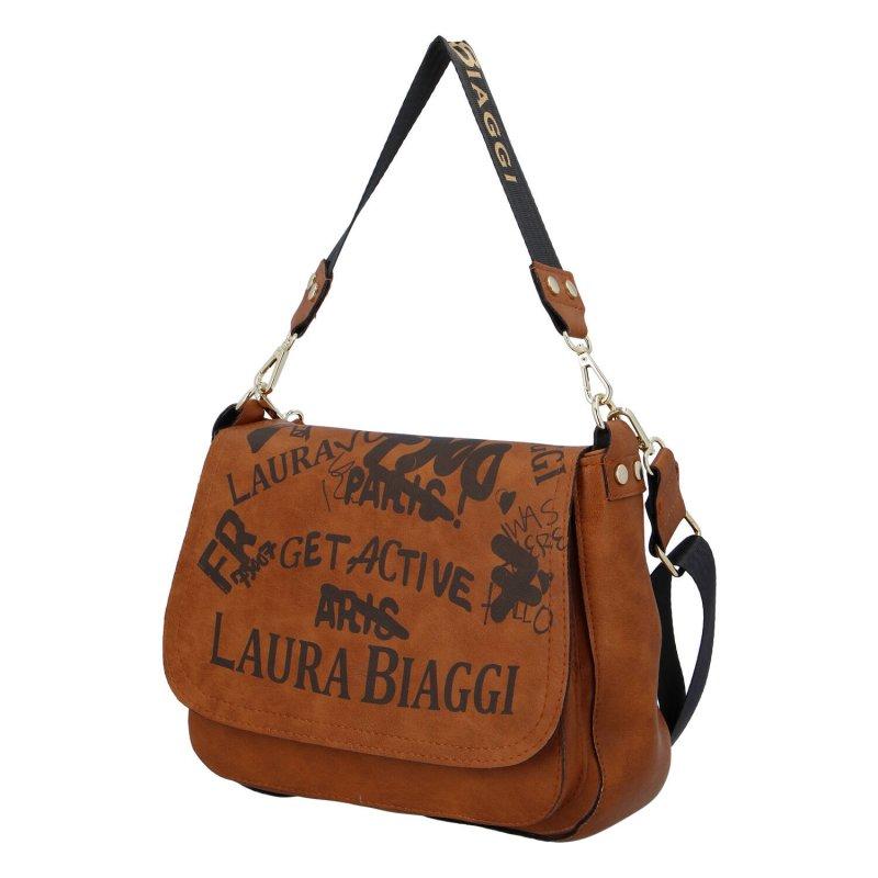 Praktická dámská koženková kabelka Laura Crossbody, hnědá