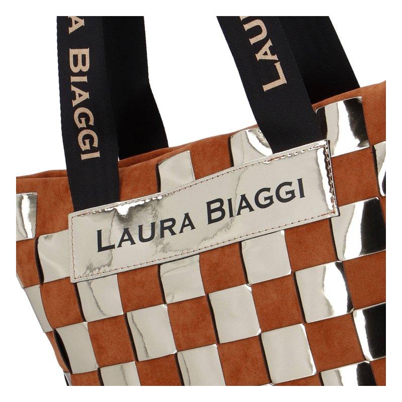 Extravagantní kabelka Laura Gold square, hnědo zlatá
