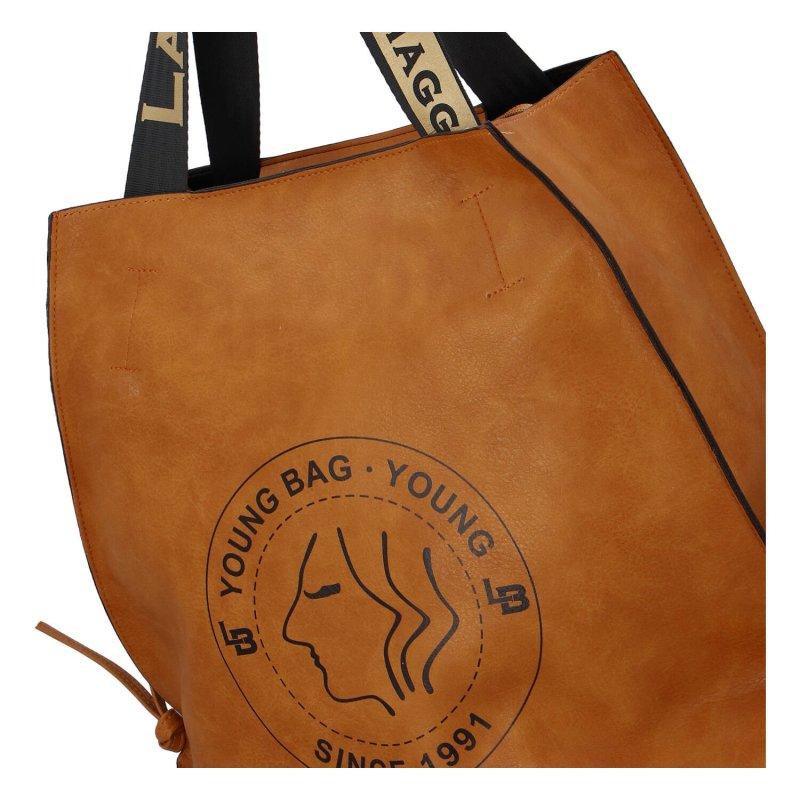 Moderní dámská koženková kabelka Stylish Laura, hnědá