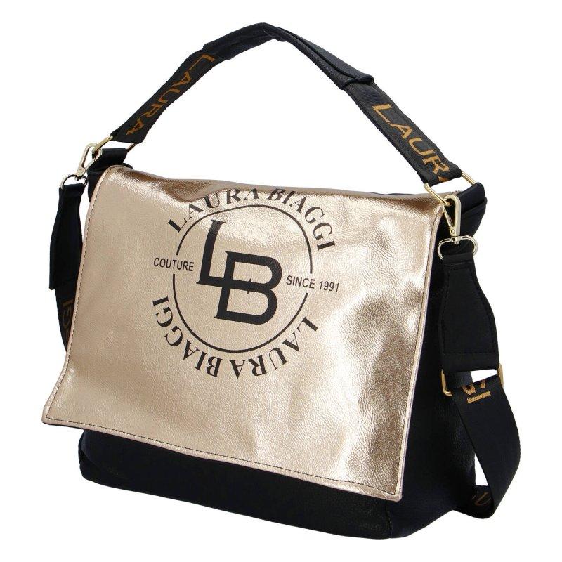Moderní dámská koženková kabelka LB Couture gold, zlato černá