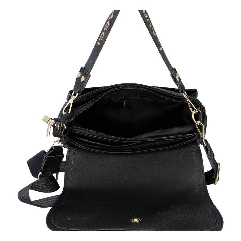 Praktická dámská koženková kabelka Laura Crossbody, černo zlatá