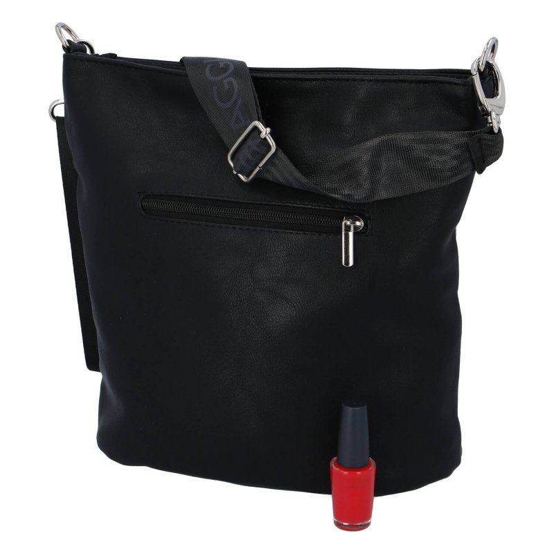 Dámská koženková kabelka Laura Sport Elegance, černo stříbrná