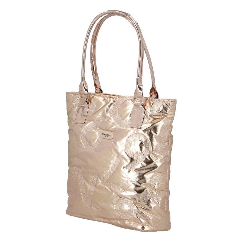 Futuristická dámská koženková kabelka Maggio Gold dream, zlatá