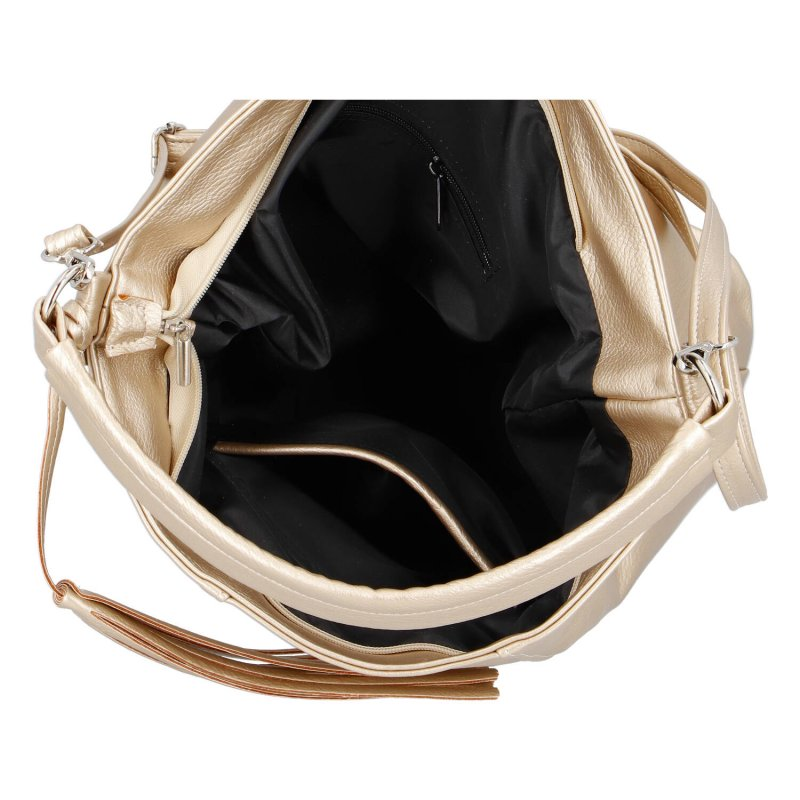 Moderní dámská koženková kabelka Emma gold, zlatá