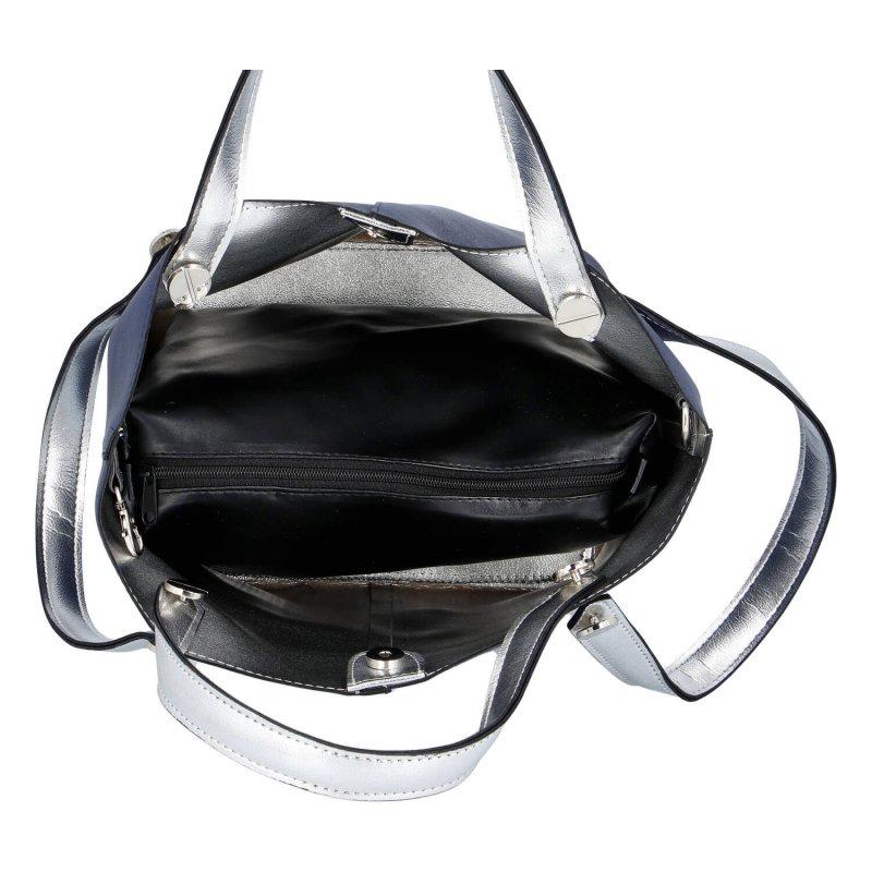 Moderní dámská koženková kabelka Maggio Blue dream, modro stříbrná