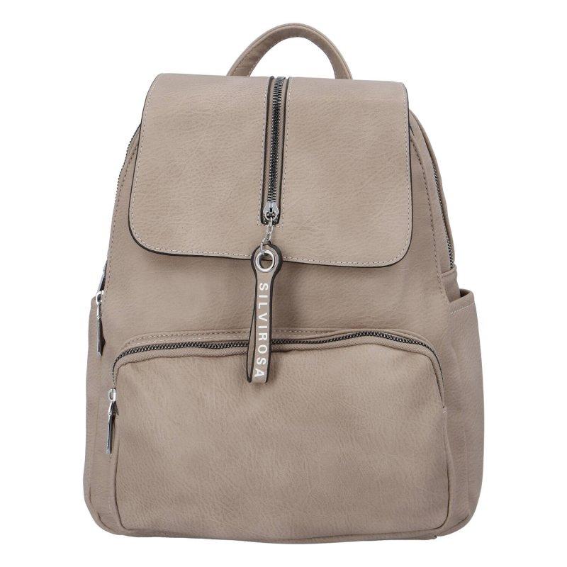 Stylový městský koženkový batoh Selma H., béžový