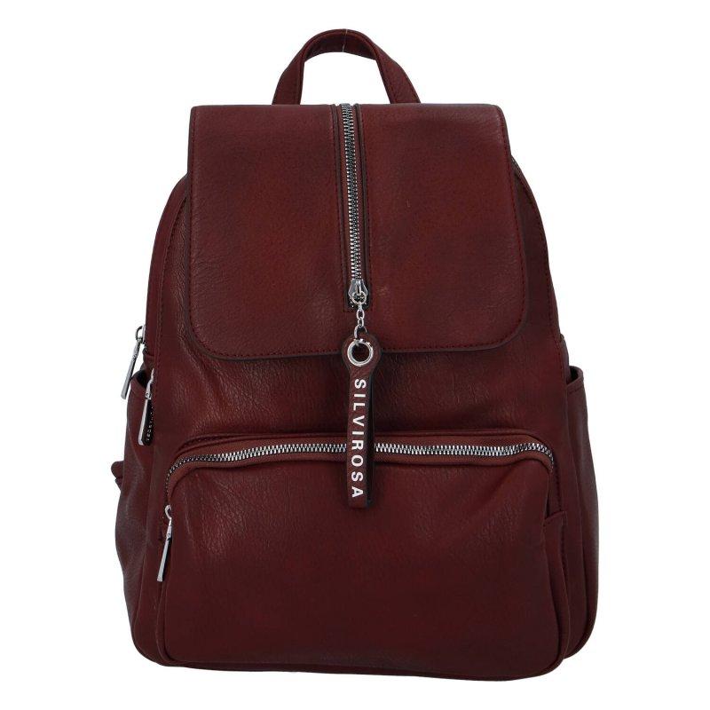 Stylový městský koženkový batoh Selma H., claret