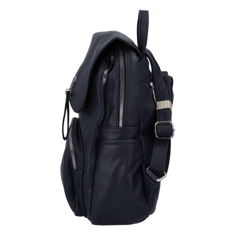 Stylový městský koženkový batoh Selma H., modrý