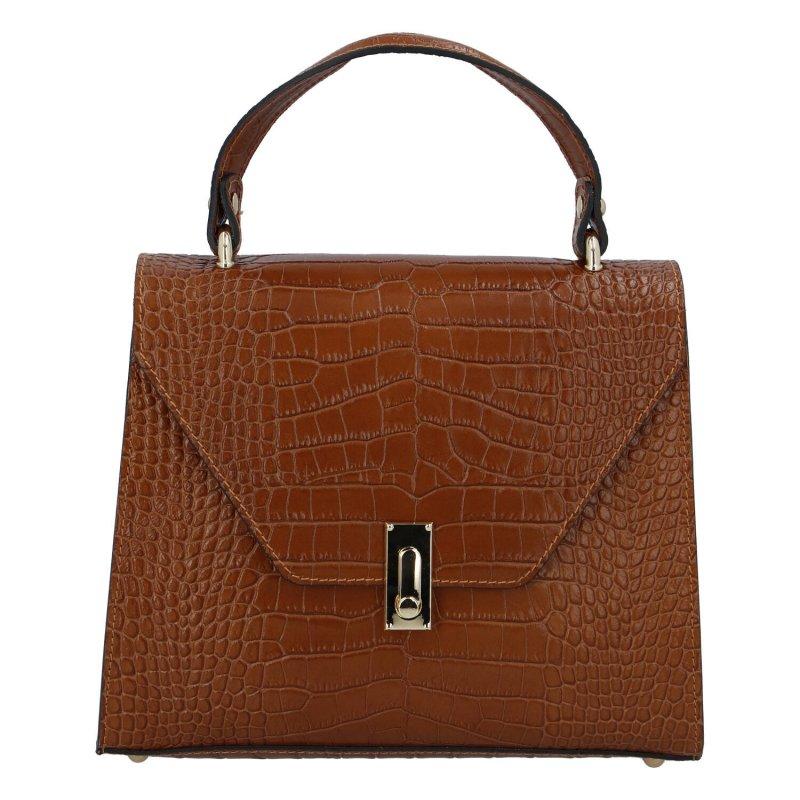 Elegantní dámská kožená kabelka Simona Stylish, hnědá