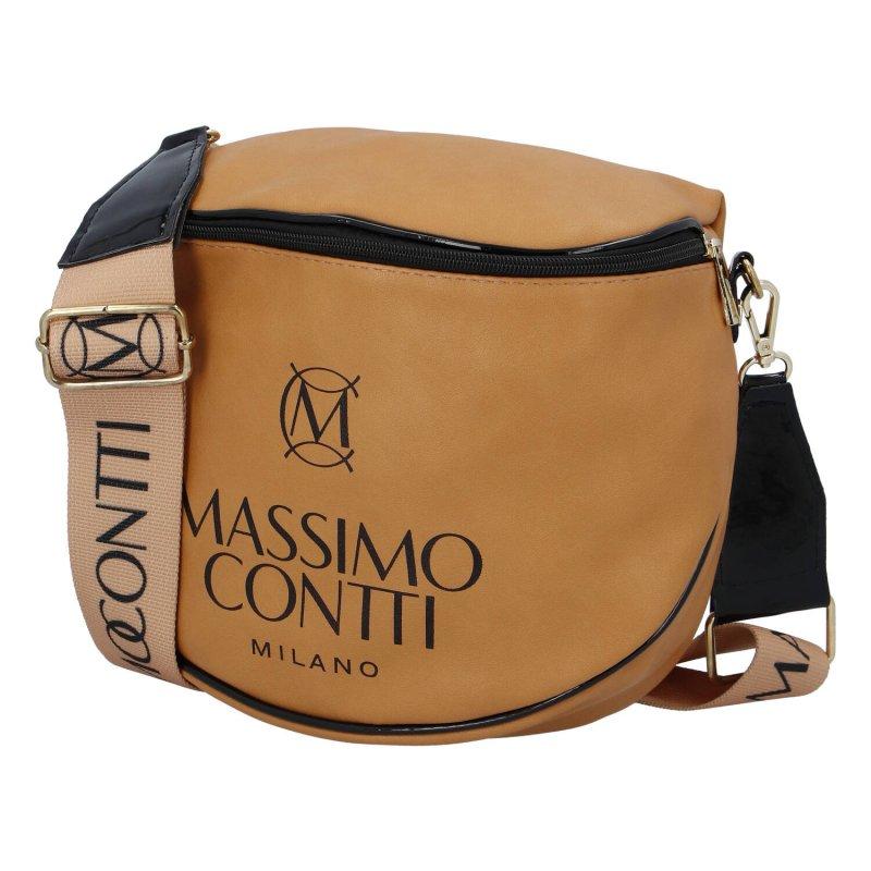 Trendová dámská koženková kabelka ledvinka Massimo sportish, hnědá