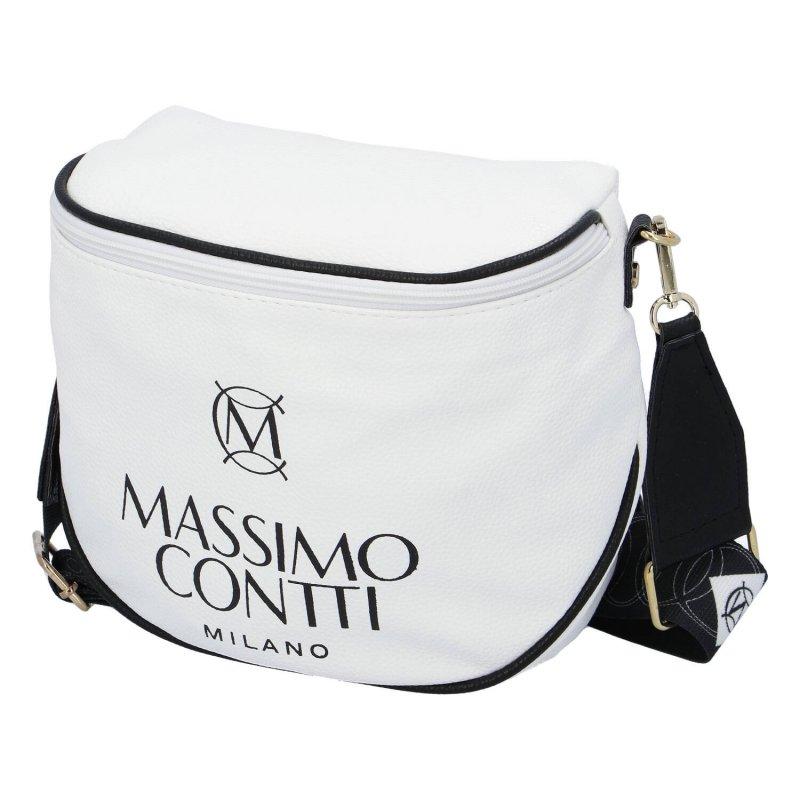 Trendová dámská koženková kabelka ledvinka Massimo sportish, bílá