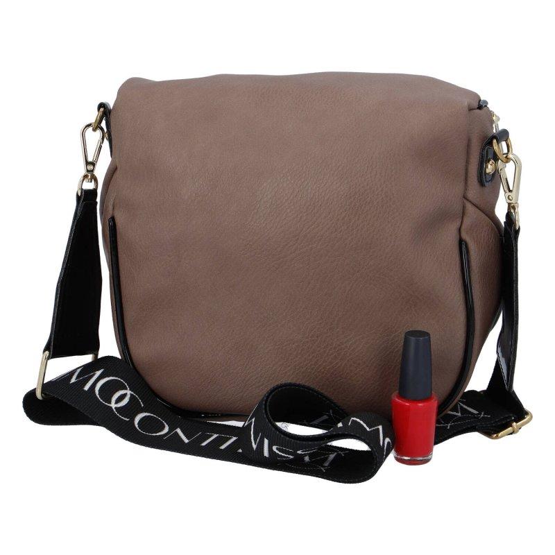 Trendová dámská koženková kabelka ledvinka Massimo sportish, tmavá taupe