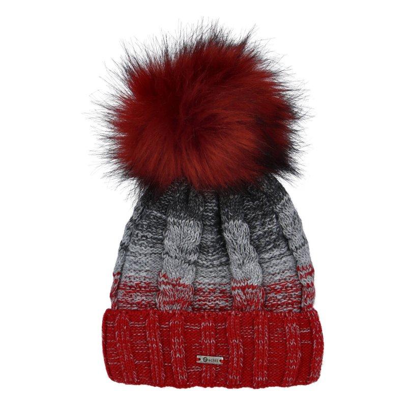 Dámská čepice Lana, červeno šedá
