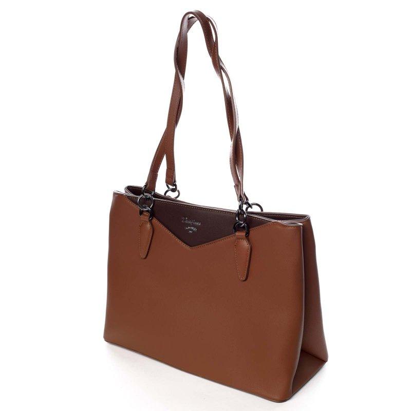 Praktická dámská koženková taška Brigita hnědá