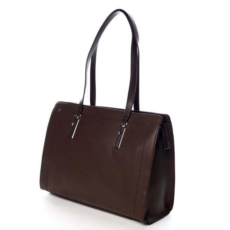 Pevná pracovní dámská koženková taška Valentína hnědá
