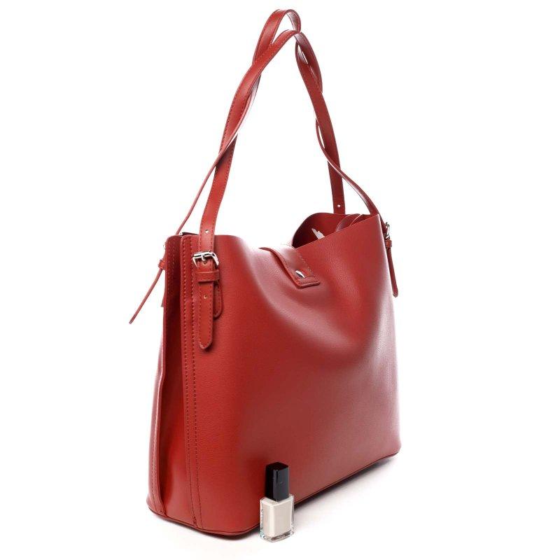 Zajímavá dámská koženková kabelka Beatricie červená