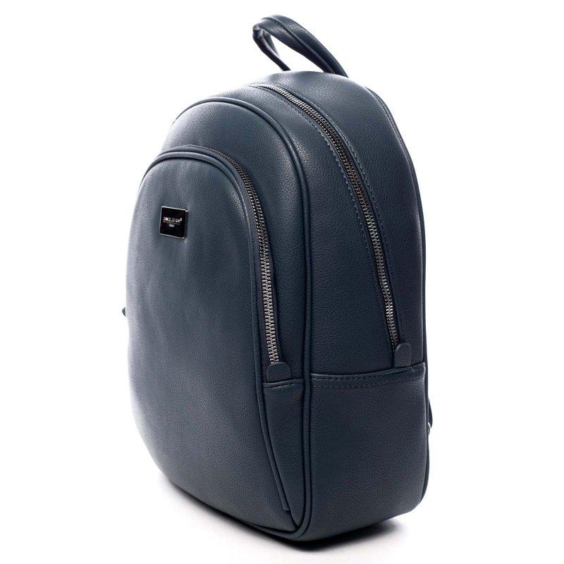 Pevný městský dámský koženkový batůžek Lila modrá