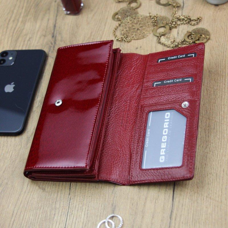 Luxusní dámská kožená peněženka lakovaná Klára, červená